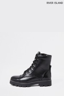 River Island Black Lace-Up Contrast Stitch Boots