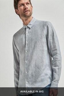 Linen Stripe Long Sleeve Shirt