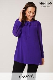 Studio 8 Purple Cassie Tie-Neck Blouse