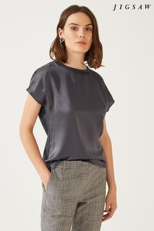 Jigsaw Cap Sleeve Silk Front Top