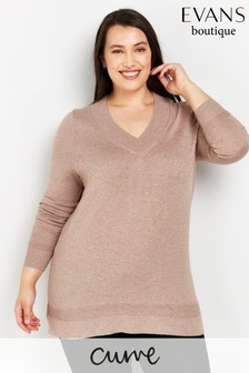Evans Curve Camel Ribbed V-Neck Jumper