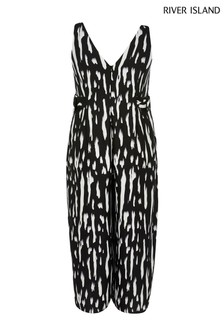 River Island Black Stark Buckle Side Jumpsuit