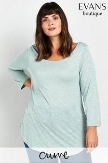 Evans Curve Mint Green 3/4 Sleeve T-Shirt