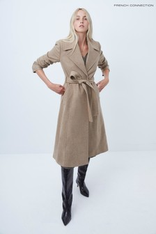 French Connection Camel Mel Balia Tweed Belted Coat