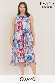 Evans Curve Blue Tie Dye Jersey Maxi Dress