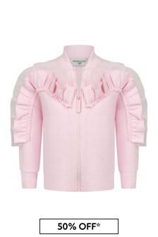 Monnalisa Baby Girls Pink Cotton Girls Zip Up Cardigan