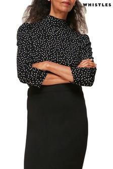 Whistles Black/White Spotted High Neck Top