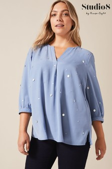 Studio 8 Blue Jenny Sequin Top