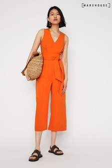 Warehouse Orange V-Neck Open Back Jumpsuit