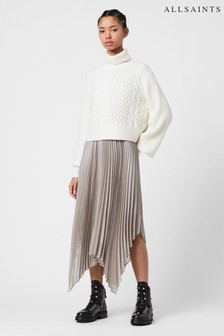 AllSaints White Pearl Grey 2 In 1 Jumper Dress