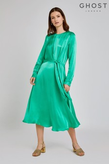Ghost London Green Mindy Essence Satin Dress