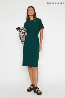 Warehouse Green Crinkle Dress