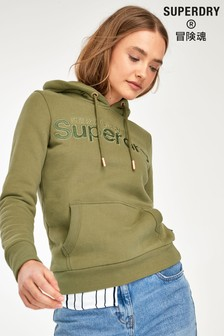 Superdry Olive Applique Overhead Hoody