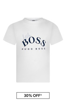 Boss Kidswear Baby Boys White Cotton T-Shirt