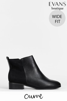 Evans Curve Wide Fit Black Stretch Ankle Boots