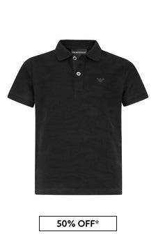 Emporio Armani Boys Black Polo Top