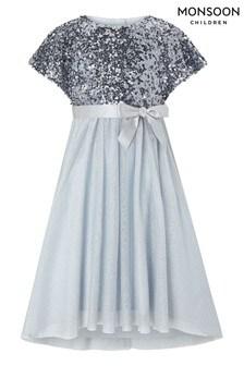 Monsoon Blue Truth Cape Sequin Maxi Dress