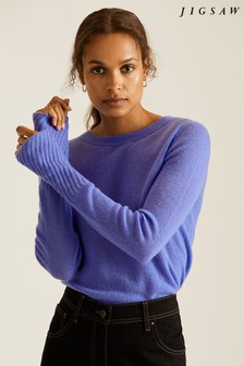 Jigsaw Blue Cloud Cashmere Crew Jumper