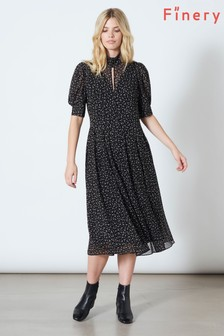 Finery London Black Spencer Short Sleeve Midi Dress