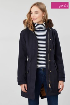 Joules Piper Parka With Faux Fur Trimmed Hood