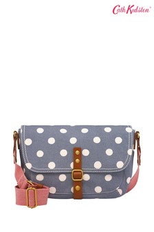 Cath Kidston® Blue Button Spot Twill Cross Body Satchel