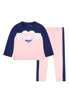 Guess Baby Girls Pink Cotton Tracksuit