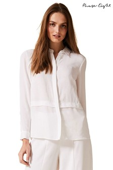 Phase Eight White Verity Self Stripe Blouse
