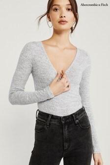 Abercrombie & Fitch Grey Wrap Bodysuit