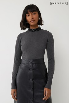 Warehouse Grey Embellished High Neck Jumper