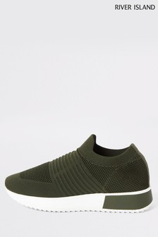 River Island Khaki Rogan Knitted Runner Trainers