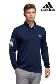 adidas Golf Navy 3 Stripe Midweight 1/4 Zip Top