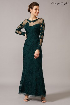 Phase Eight Green Lorie Tapework Lace Dress