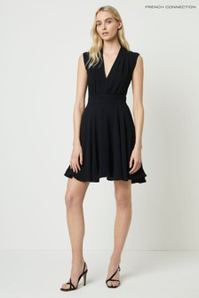 French Connection Black Carrabelle Crepe V-Neck Dress