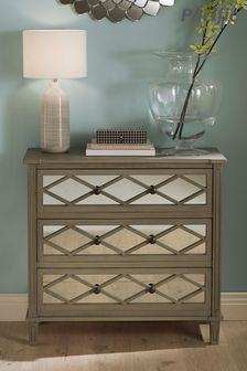 Pacific Lifestyle Mirrored Pine Wood 3 Drawer Wide Unit