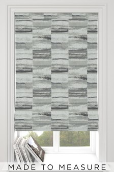 Chenille Block Stripe Mono Grey Made To Measure Block Stripe Roman Blind