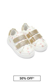 Girls Cream Trainers