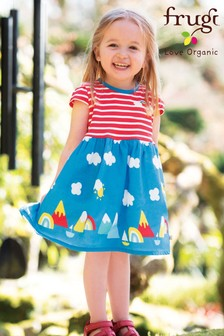 Frugi GOTS Organic Stripe And Rainbow Jersey Dress