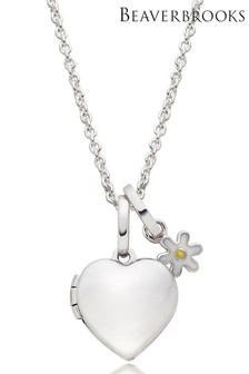 Beaverbrooks Children's Silver Flower Charm And Heart Locket