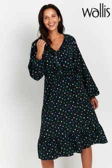 Wallis Green Polka Dot Ruffle Midi Dress