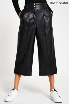 River Island Black Pleat Front Culottes
