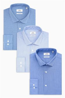 Striped And Plain Shirts Three Pack