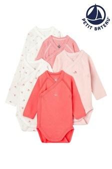 Petit Bateau Pink Bodysuits Five Pack