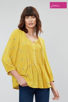 Joules Yellow Lucia Pintuck Blouse