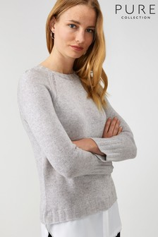 Pure Collection Grey Crew Neck Woven Hem Sweater