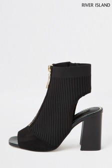 River Island Black Knitted Shoe Boots
