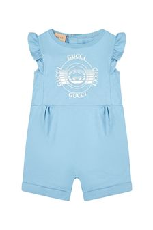 GUCCI Kids Baby Girls Navy Cotton Romper