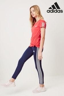 adidas Blue 3 Stripe Training Leggings