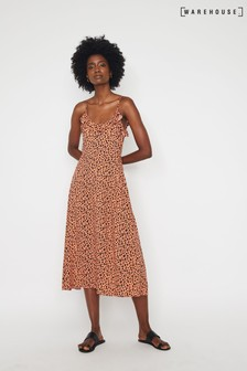 Warehouse Orange Leopard Print Frill Cami Dress