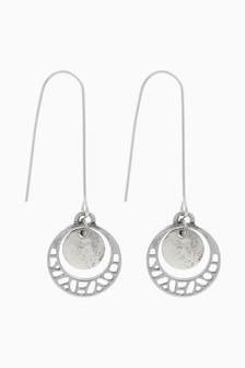 Circle Cut Out Pull Through Earrings