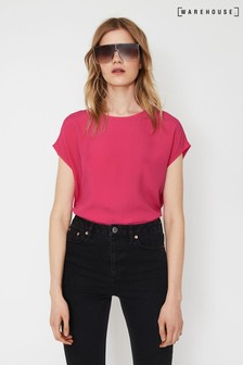 Warehouse Pink Button Back Top